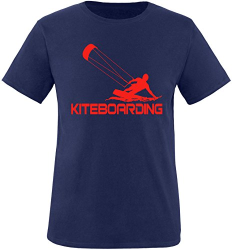 EZYshirt® Kiteboarding Herren Rundhals T-Shirt Navy/Rot