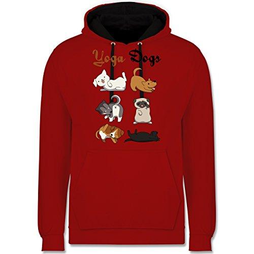 Statement Shirts - Yoga Dogs - Kontrast Hoodie Rot/Schwarz