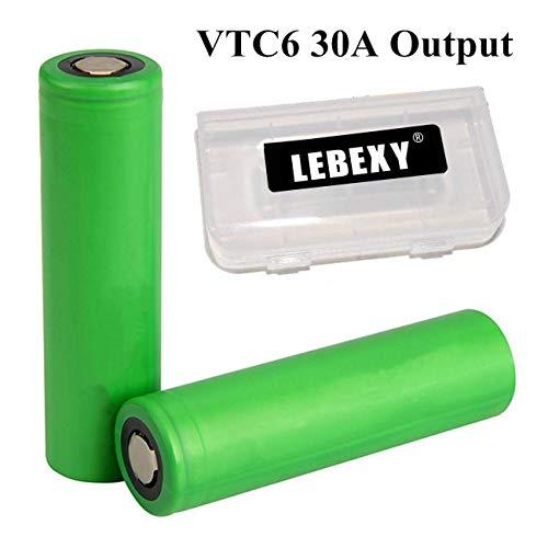 LEBEXY VTC6 Akku 2X USI8650VTC6 Akkus INR für Elektronische Zigarette Accu batterien (3000mAh/3,7V/30A/Li-Ion) Li-ionen-single