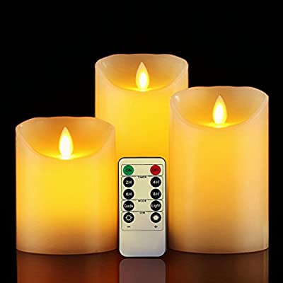 "Flameless Candle?Da by 4"" 5"" 6"" Set of 3 Realistic Dancing LED Flickering Wick for Parties,Home,Public Elegant Events, Battery Powered, 10-Key Remote Control , Ivory Color from Da by"