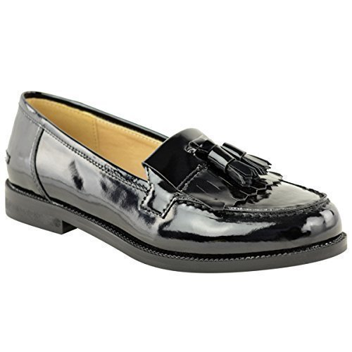 WOMENS LADIES LOAFERS FLAT CASUAL OFFICE WORK SCHOOL FRINGE TASSEL PUMPS SHOES (UK 6, Black Patent)