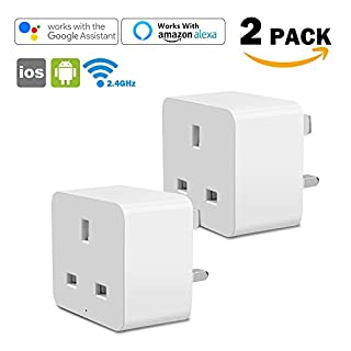 WiFi Smart Plug Steckdose Aulola Smart-Home-Geräte mit Fernbedienung und Sprachsteuerung Steckdosen mit Amazon Alexa, Google-Home und IFTTT, für Smart Switch, kein Hub erforderlich (2Stück)