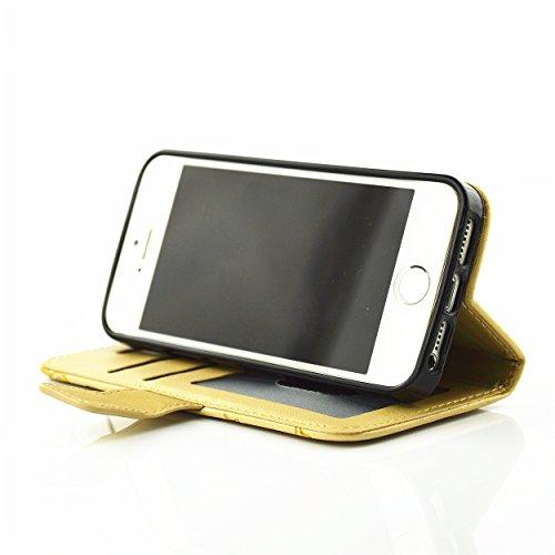 Coque Cuir Apple iPhone 5 / 5s / SE, Fermeture Aimantée de Motif Imprimé Étui Housse en Cuir Ultra-mince Avec La Fonction Stand pour Apple iPhone 5 / 5s / SE Étui +Bouchons de poussière (5PP) 3