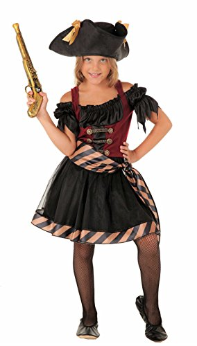 Piraten Königin Kostüm - Magicoo Piraten-Königin - Piraten Kostüm Kinder Mädchen Rot-Schwarz Karneval - Piratin Kostüm Kinder Mädchen (128/134)