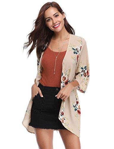 Damen Chiffon Kimono Cardigan Blumen Print 3/4 Arm Sommer Cover up Leichte Jacke Strand -
