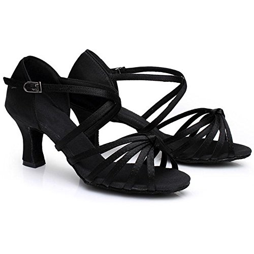 Eastlion Ballsaal Salsa Tango Schuhe Latin Dance Schuhe Tanz Sandalen für Frauen Praxis Schwarz