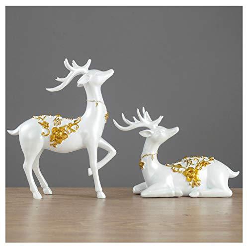 GWM Hirsch Ornamente, Home Dekorationen, Wohnzimmer Wein Kabinett Handwerk, Polyresin, Wohn-Accessoires (Color : Gold) -