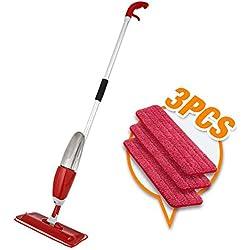 L@CR Nasser Trockener Microfiber Spray-Boden-Mopp-Satz, 3 Wiederverwendbare Waschbare Auflagen, Mehrflächenreiniger Für Küchen, Harthölzer, Laminatfußböden,Red