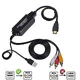 Cable HDMI a RCA, Egurs HDMI a AV Convertidor Cable,4K HDMI a 3 RCA CVBs Compuesto de audio y video compuesto para Amazon Fire Stick, Roku, Chromecast, PC, portátil, Xbox, HDTV, DVD