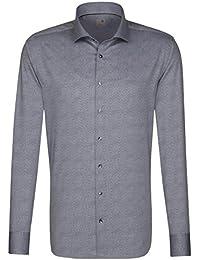 Shirts & Hemden Seidensticker Langarm Hemd Schwarze Rose Slim Fit Grau Strukturiert 244830.36