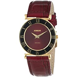 Jowissa Roma Women's Quartz Watch with Red Dial Analogue Display and Red Leather Strap J2.043.M