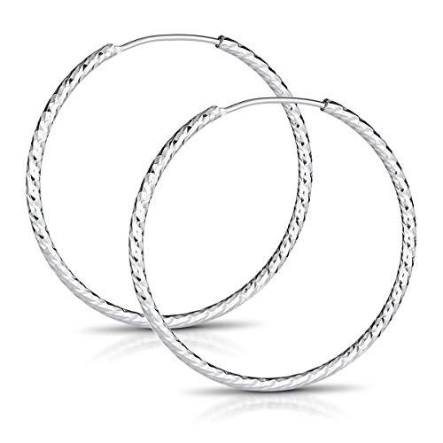 MATERIA Ohrringe Creolen Silber 925 - Glitzer Silbercreolen Ohrringe 50mm Kreolen Damen Teenager in Etui SO-55