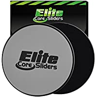 Elite Sportz Equipment Discos deslizantes Core Exercise Sliders, 2 Discos de Doble Cara para alfombras y Suelos Duros, Plata