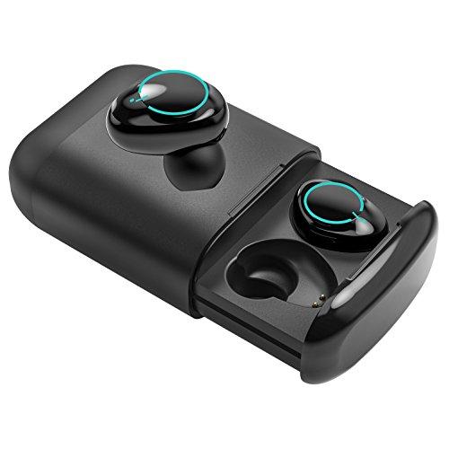Auriculares Bluetooth, Souleader Auriculares Inalámbricos Estéreo In-ear Bluetooth 5.0 Manos Libres con Micrófono Dual con Caja de Carga para iPhone y otros Smart Phones (Negro)