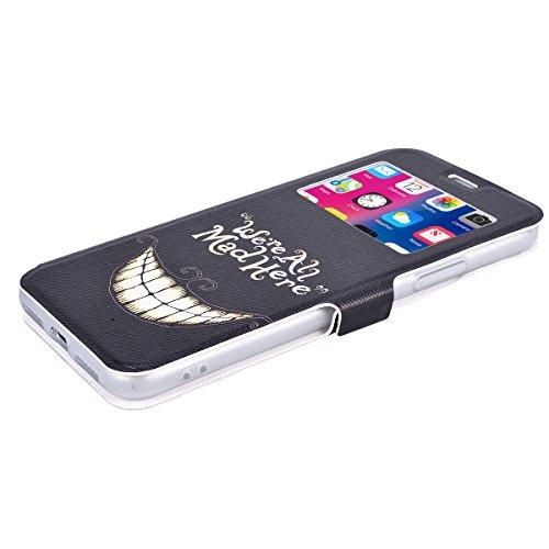 Yokata Coque iPhone X Folio en Cuir PU Motif Élégant Mignon Fente Carte Wallet Case de Carte Slots Flip Cover Fermeture Magneique Fonction Support Antichoc Interne Silicone Souple Doux Housse de Prote Sourire Drôle