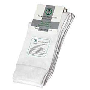 Venasoft 2 Paar Damen Diabetiker Socken, aus ÖkoTex Baumwolle, weiß, Gr. 39-42