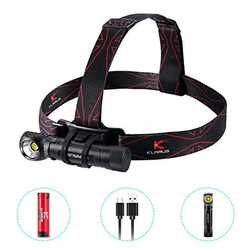 KLARUS HA2C LED Stirnlampe, Kopflampe Zoom 141m 8 Lichtmodi 3200 Lumen Ultrahohe Helligkeit mit 3100mAh USB wiederaufladbaren Batterien IPX8 Wasserdicht für Nacht Angeln Laufen Jagd Lesen Camping