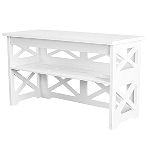 White Shoes Rack Hall Storage Bench Seat Pantry Shoe Stand