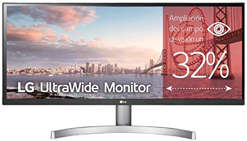 LG 29WK600-W - Monitor Profesional UltraWide WFHD de 73 cm (29') con Panel IPS (2560 x 1080 píxeles, 21:9, 300 cd/m², sRGB 99%, 1000:1, 5 ms GtG, 75 Hz, DPx1, HDMIx2, Auriculares) Color Blanco