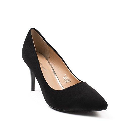 Ideal Shoes - Escarpins effet daim à bout pointu Giania Noir