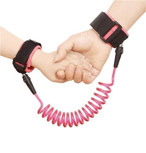 LALY A SHOP 1.5-2.5m Enfants Sécurité Harnais Réglable Laisse Anti-perdu Lien Traction Corde Bébé Walker Bracelet, 360 degrés Rose, 2.5 m