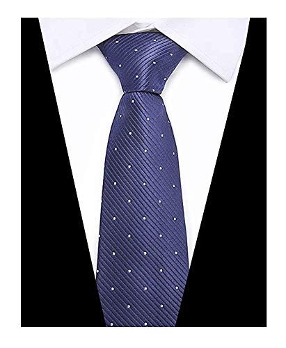 Leojula Moderne formale Seidenkrawatte der Männer überprüft karierte Streifen-Polka-Punkt-Muster-dünne Krawatte (Color : Navy Repp Pin Dots, Größe : One Size) - Formale Pin Dot