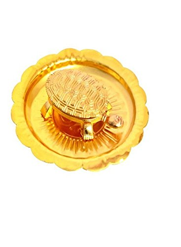 KRIWIN Vastu/Fengshui Tortoise/Turtle (for Good Luck) with Metal Plate (Golden Color)