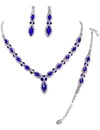 Schmuckanthony Glamour Hochzeit Brautschmuck Schmuckset Set Kette Lange Ohrringe Armband Kristall Königsblau Blau Klar Transparent