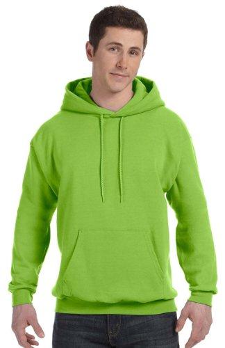 Hanes Mens Fleece Full Cut Athletic Hooded Pullover Lime