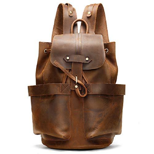 Großer Rucksack aus echtem Leder für Laptop-Rollrucksack für Männer Frauen Vintage Canvas Leder Rucksack Campus Book-Bag-S