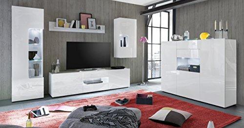 trendteam LW53201 Hängevitrine Weiß Hochglanz Lack, BxHxT 57x112x34 cm - 2
