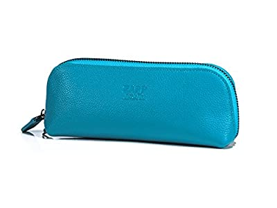 ZAPP- Case double Genuine Leather for electronic cigarette BOX MOD (blue) - Perfect match with popular e-cigarette as Kangertech, Vaptio, Eleaf…