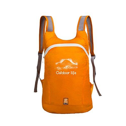 14L Rucksack Tasche Sporttasche Gepäck Hülle Umhängetasche Daypack Bag Handyhalter Geldbeutel Faltbar wasserdicht für Damen Herren und Kindern für wandern, joggern,Bummeln,klettern Orange