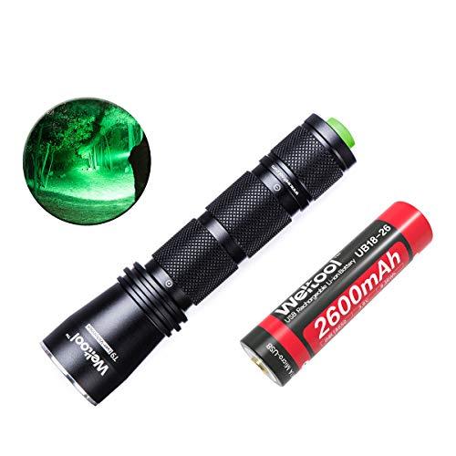 Weltool GRÜN-LICHT LED Taschenlampe Jagd Taschenlampe 522 nm Wellenlänge Professionelle Taktische Taschenlampe für Wandern, Camping, Selbstverteidigung, Suche, Jagd, tägliche Beförderung, Nachtfischen -