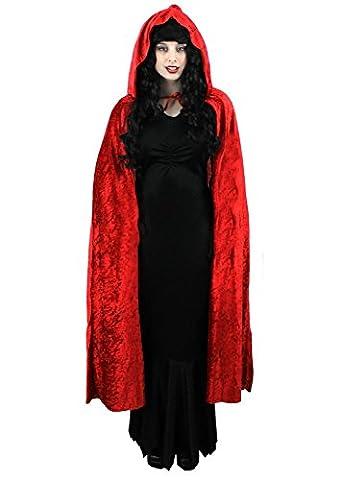 HALLOWEEN CAPE VELOUR UNISEX ADULTS VAMPIRE LONG HOODED CLOAK MENS LADIES FANCY DRESS CAPE DEULXE (RED