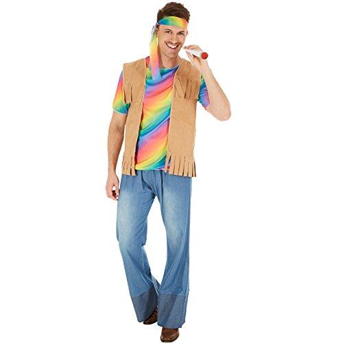 Herrenkostüm Hippie Peace | Cooles, buntes Elastik-Jersey-T-Shirt | Lässige Schlaghose mit Gummizug in Jeansoptik | inkl. Weste mit Fransen in Velourslederoptik, Haarband (XXL | Nr. 300951)