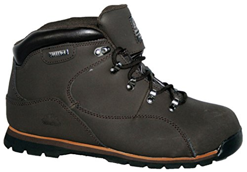 MENS LEATHER UPPERS SMART/CASUAL LACE UP STEEL TOE CAP SAFETY BOOT (UK8, brown plain)