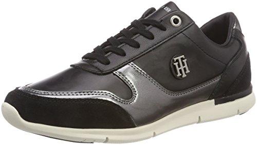 Tommy Hilfiger Damen CAMO METALLIC Light Sneaker, Schwarz (Black 990), 38 EU
