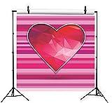 BuEnn 6x6ft Rosa Gestreifte Rote Liebe Valentinstag Fotografie Hintergrund Geburtstagsfeier für Mädchen Baby Shower Hochzeit Dessert Tischdeko Stand - 4
