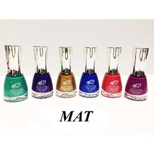 Lot de 6 vernis Effet MAT - Or Bleu Violet ... décoration ongles - Nail art