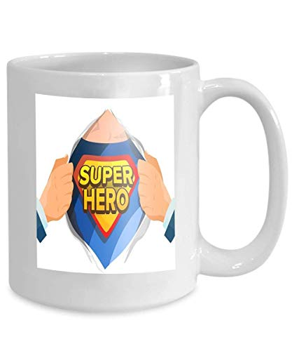 Cup Tee Kostüm - Kaffee Tee Becher Cup Superheld Zeichen Superheld offen, um Kostüm unter Schild Abzeichen isoliert Cartoon Comic 110z zu enthüllen