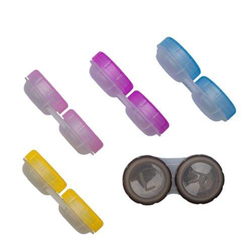 5 er SET - TOP Kontaktlinsen Behälter Aufbewahrungsbehälter Linsenbehälter mit Schraubverschluß in vers. Farben Test