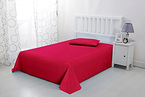 Luxury Non Iron Soft Microfibre Flat Sheet by Sonia Moer (Double, Red)