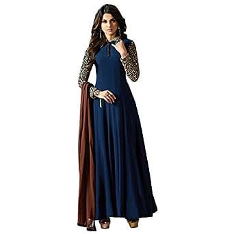 Ethnic Empire Women's Apple Georgette Anarkali Salwar Suit Set (Eed_Er11035_Blue_Free Size)