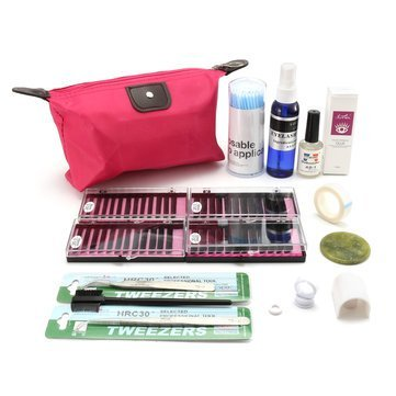 EasyBuy India Eyelash Extension Kit Grafting Makeup Bag Glue Wands Tweezers Comb Cleaner