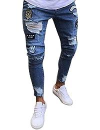 Pantalons pour Hommes Denim Hommes Slim Hommes Biker Style Simple Zipper Denim  Jeans Pantalons Skinny Frayed Pantalons Rip Snap (M Bleu… 4b01dc37d43a