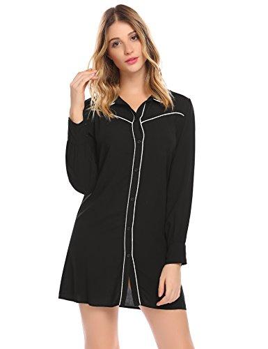 EkouaerDamen Langarm Baumwolle Nachthemd Nachtshirt Nachtwäsche Lange Hülsen Sleepshirt (Sleepshirt Boyfriend)