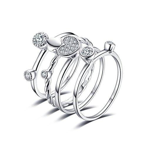 JewelryPalace Herz Liebe 4 Stück Seil Band Stapelbaren Ring Sets 925 Sterling Silber