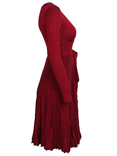 799c054647a ... Simplee Apparel Damen Kleid Retro Elegant Langarm V-Ausschnitt Plissee  Strickkleid Abendkleid Dress Rot ...