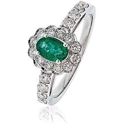1, 05CT certificado/G VS2 esmeralda en forma de Oval con centro de corte brillante Redondo anillo de diamantes con Halo de diamantes en los hombros 18 K oro blanco